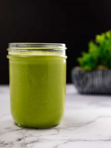 avocado smoothie on a jar