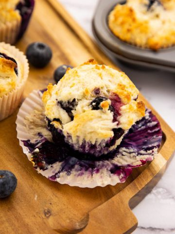 Blueberry Sour Cream Muffins on board server