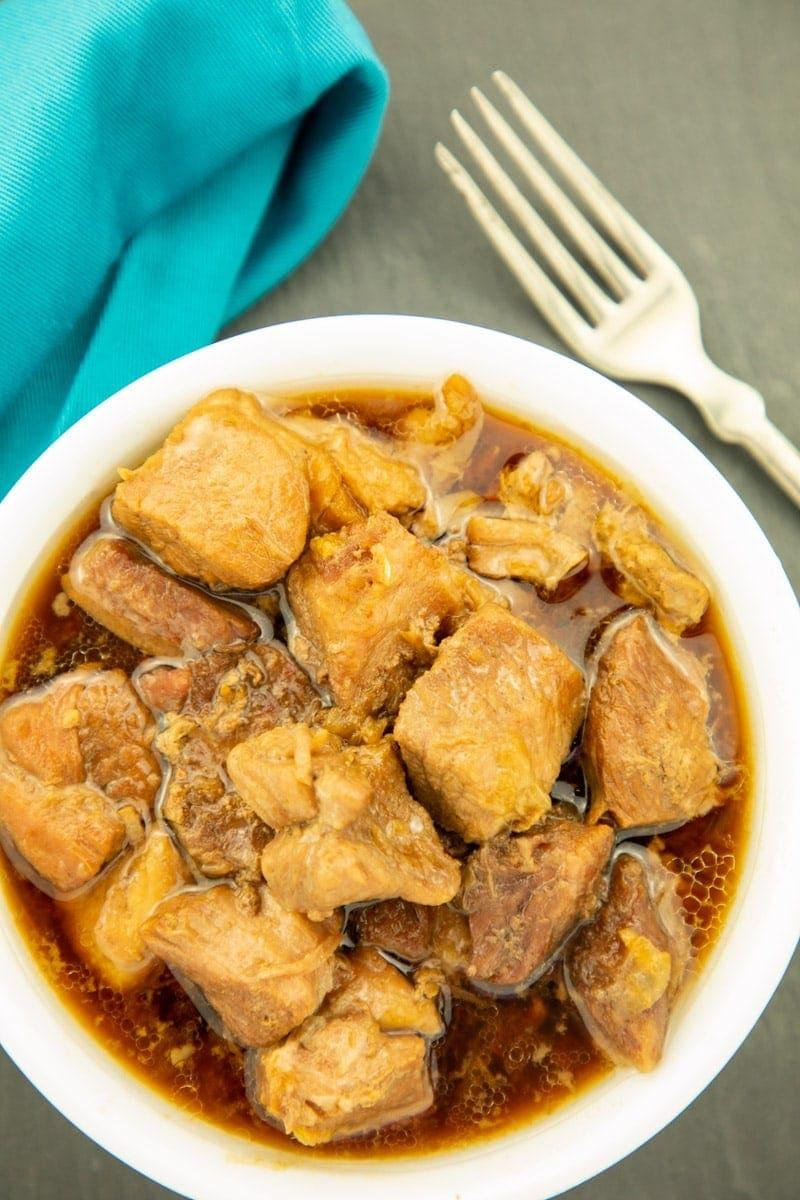 Instant Pot Pork Humba in a white bowl