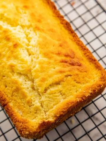 Lemon Pound Cake on rack